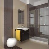 Modernes Badezimmer mit den beige und braunen Fliesen Stockbild