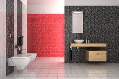 Modernes Badezimmer mit den schwarzen, roten und weißen Fliesen Stockfotografie