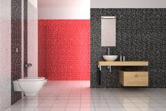Modernes Badezimmer mit den schwarzen, roten und weißen Fliesen Lizenzfreies Stockbild