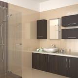 Modernes Badezimmer mit dunkler hölzerner Ausrüstung Lizenzfreie Stockbilder