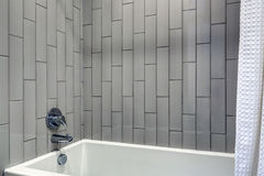 Modernes Badezimmerdesign, das graue vertikale Duscheinfassung kennzeichnet stockbild