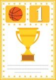 Modernes Basketballzertifikat mit Platz für Ihren Inhalt, für die Kinder Erstplatz- Lizenzfreies Stockfoto