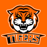 Modernes Berufslogo für Sportteam Tigermaskottchen Tiger, Vektorsymbol auf einem dunklen Hintergrund Lizenzfreies Stockbild