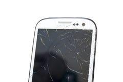 Modernes bewegliches smartphone mit dem defekten Schirm lokalisiert auf weißem Hintergrund Lizenzfreies Stockbild