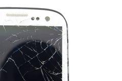 Modernes bewegliches smartphone mit dem defekten Schirm lokalisiert auf weißem Hintergrund Stockfotografie