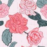 Modernes Blumenmuster Romanze Beschaffenheit Rose Flowerss Gewebewiederholungsmuster lizenzfreie abbildung