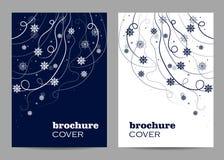 Modernes Broschürenabdeckungsdesign Schönes Wintermuster mit Schneeflocken und Strudeln lizenzfreies stockbild