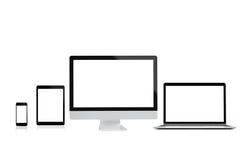 Modernes Computerlaptophandy- und -tablettenisolat auf weißem Hintergrund für Modell, Wiedergabe 3D Stockbild