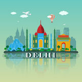 Modernes Delhi-Stadt-Skyline-Design Indien Lizenzfreie Stockbilder