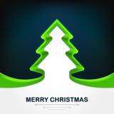 Modernes Design der grünen Weihnachtsbaum-Bandform auf dunkelblauem lizenzfreie abbildung