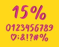 Modernes Design des Alphabetes Handbürstenguß, Art beschriftend Zahlen, Interpunktionszeichen Schriftbildclipart, Vektor stock abbildung