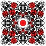 Modernes Design des Vektors Locken und rote Kreise Stockfotografie