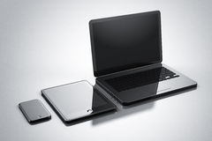 Modernes digitales Geräte Smartphone-Tablettennotizbuch Stockbild
