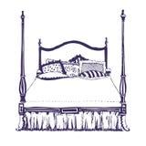 Modernes doppeltes Schlafzimmer mit hölzernen Möbeln Lizenzfreie Stockbilder