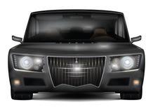 Modernes dunkles silbernes Auto mit Retro- Gestaltungselementen Front View Stockfoto