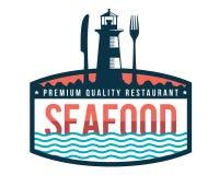 Modernes erstklassiges Meeresfrüchte-Restaurant Logo Badge Illustration Lizenzfreie Stockfotografie