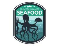 Modernes erstklassiges Meeresfrüchte-Restaurant Logo Badge Illustration Stockfotos
