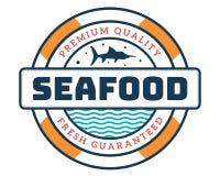 Modernes erstklassiges Meeresfrüchte-Restaurant Logo Badge Illustration Lizenzfreie Stockbilder