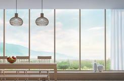 Modernes Esszimmer mit Bild Wiedergabe des Bergblicks 3d Stockfoto