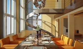 Modernes Esszimmer mit gewundenem Treppenhaus Stockbild