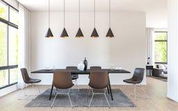 Modernes Esszimmer verzieren mit braunem ledernem Wiedergabebild der Möbel 3d Lizenzfreie Stockbilder