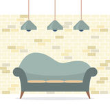 Modernes flaches Design Sofa Interior Lizenzfreie Stockfotos