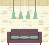 Modernes flaches Design Sofa Interior Lizenzfreie Stockfotografie
