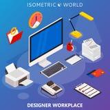 Modernes flaches isometrisches Konzept 3d des Arbeitsplatzes mit Computer und Büroeinrichtung Stockfoto