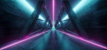 Modernes futuristisches Sci FI-Raumschiff-Dreieck-dunkler leerer Korridor vektor abbildung