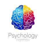 Modernes Gehirnlogo von Psychologie menschlich Kreative Art Firmenzeichen im Vektor Konzept des Entwurfes Markenfirma Blaues Veil stock abbildung
