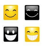 Modernes Gelb, das glückliches Lächeln lacht Stockbilder