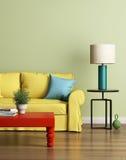 Modernes gelbes Sofa in einem hellgrünen Luxusinnenraum stock abbildung