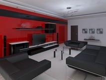 Modernes geräumiges Wohnzimmer Stockbilder