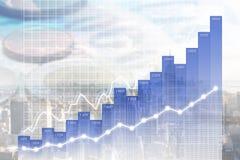 Modernes Geschäfts-/Finanzdiagramm bedeckt auf Manhattan-Skylinen Lizenzfreies Stockbild