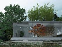 Modernes Glashaus in Forest Setting Stockbilder