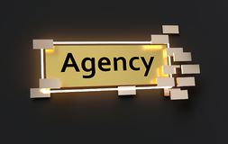 Modernes goldenes Zeichen der Agentur vektor abbildung