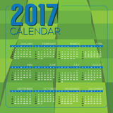 Modernes grünes Geometrics 2017 bedruckbare Kalender-Anfänge Sonntag Stockfoto