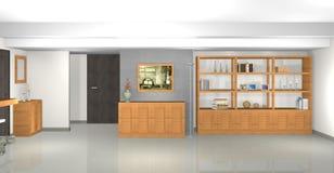 Modernes, graues Wohnzimmer mit Bibliothek und Kamin Lizenzfreies Stockfoto