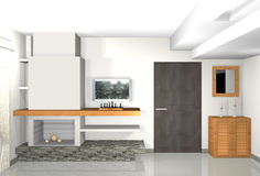 Modernes, graues Wohnzimmer mit Bibliothek und Kamin Lizenzfreies Stockbild