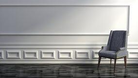 Modernes Grey Chair im hochwertigen Luxushaus mit weißen Wänden Stockbilder