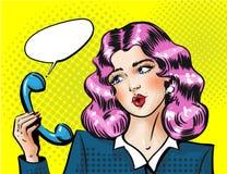 Modernes hübsches Telefonhörer haltenes und überraschendes Mädchen Platz für Text Kopieren Sie Platz stock abbildung