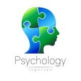 Modernes Hauptpuzzlespiellogo von Psychologie Profil-Mensch Lizenzfreie Stockfotografie