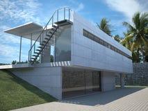 Modernes Haus - Äußeres mit Palmen Stockfoto