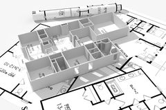 modernes Haus 3d und Lichtpausen getrennt auf Weiß Stockfotografie