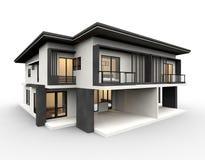 Modernes Haus 3d, das Luxusart lokalisiert auf weißem Hintergrund macht vektor abbildung