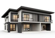 Modernes Haus 3d, das Luxusart lokalisiert auf weißem Hintergrund macht lizenzfreie abbildung