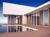 Modernes Haus in der unbedeutenden Art. Stockfotografie