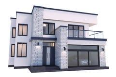 modernes Haus der Wiedergabe 3d auf weißem Hintergrund stock abbildung