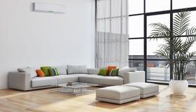 Modernes helles Innenraumwohnung Wohnzimmer mit Klimaanlage vektor abbildung