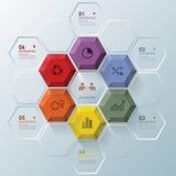 Modernes Hexagon-Geschäft Infographic Stockfotografie
